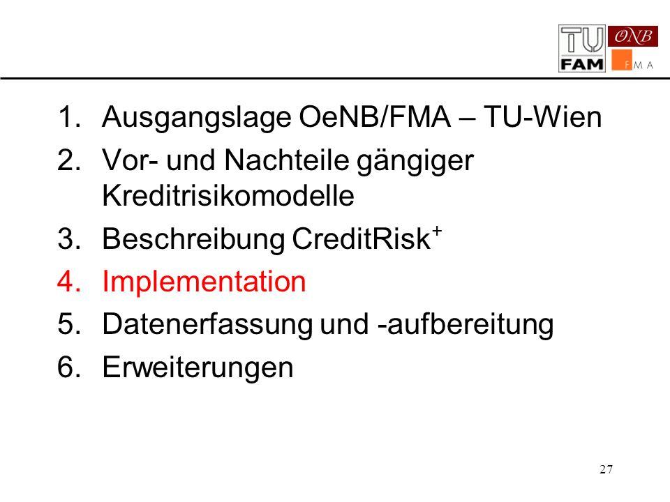 27 1.Ausgangslage OeNB/FMA – TU-Wien 2.Vor- und Nachteile gängiger Kreditrisikomodelle 3.Beschreibung CreditRisk + 4.Implementation 5.Datenerfassung u