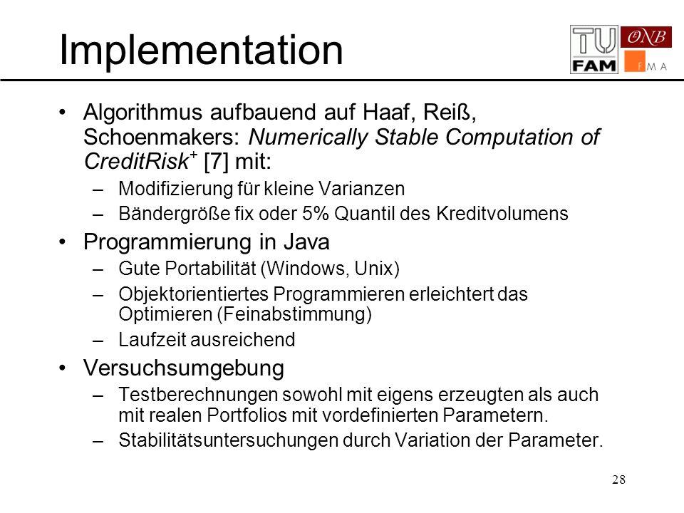 28 Implementation Algorithmus aufbauend auf Haaf, Reiß, Schoenmakers: Numerically Stable Computation of CreditRisk + [7] mit: –Modifizierung für klein