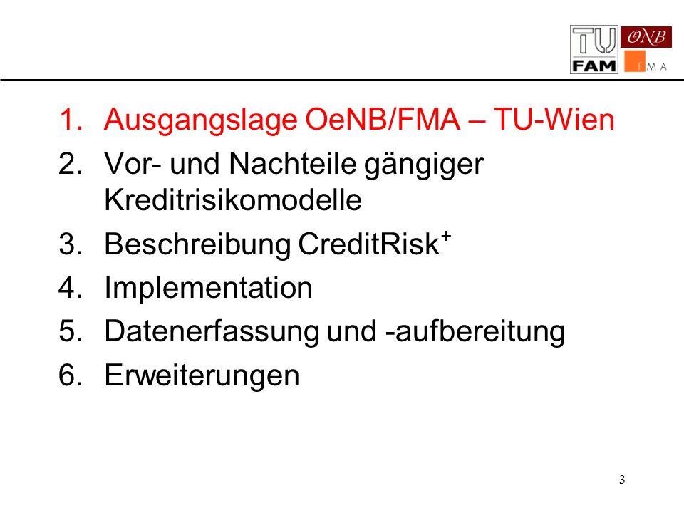 3 1.Ausgangslage OeNB/FMA – TU-Wien 2.Vor- und Nachteile gängiger Kreditrisikomodelle 3.Beschreibung CreditRisk + 4.Implementation 5.Datenerfassung un