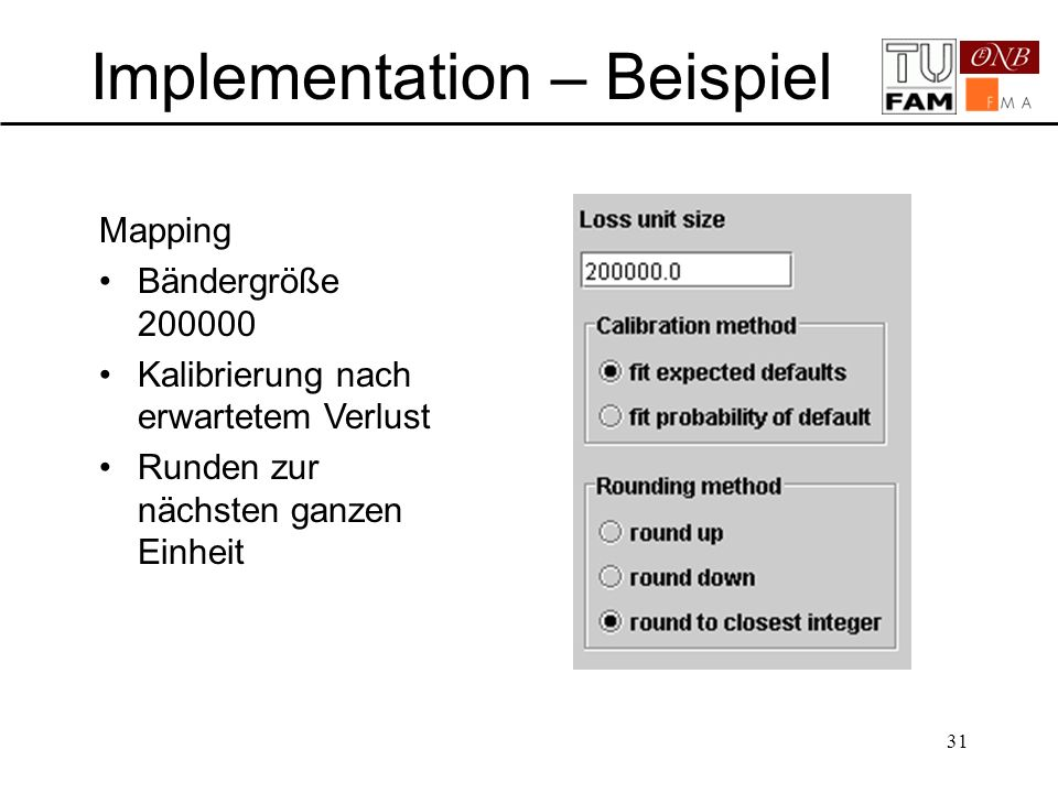 31 Implementation – Beispiel Mapping Bändergröße 200000 Kalibrierung nach erwartetem Verlust Runden zur nächsten ganzen Einheit