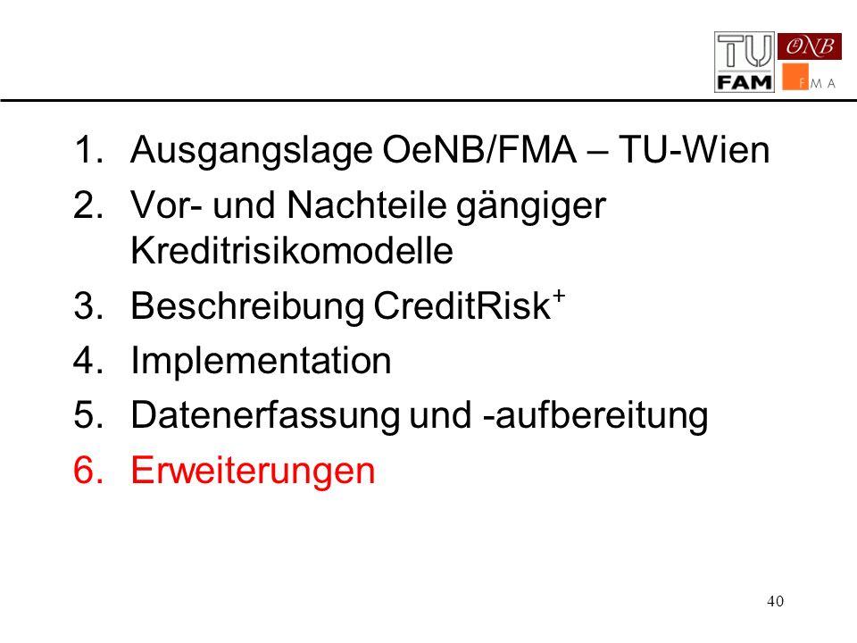 40 1.Ausgangslage OeNB/FMA – TU-Wien 2.Vor- und Nachteile gängiger Kreditrisikomodelle 3.Beschreibung CreditRisk + 4.Implementation 5.Datenerfassung u