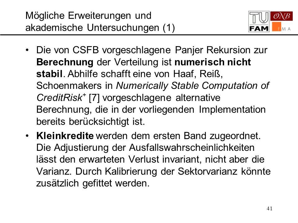 41 Mögliche Erweiterungen und akademische Untersuchungen (1) Die von CSFB vorgeschlagene Panjer Rekursion zur Berechnung der Verteilung ist numerisch