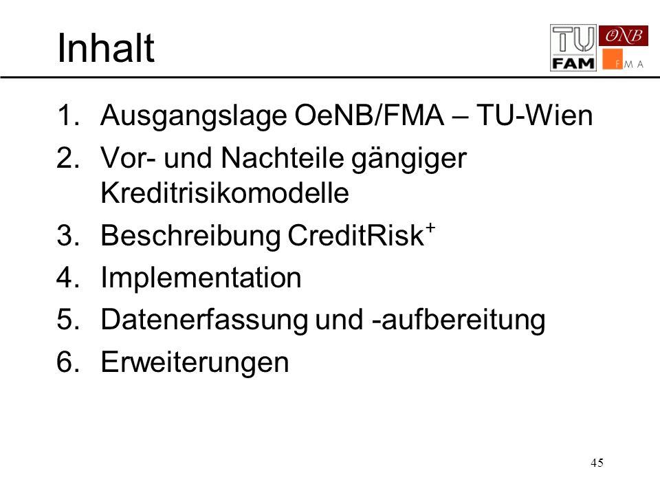 45 Inhalt 1.Ausgangslage OeNB/FMA – TU-Wien 2.Vor- und Nachteile gängiger Kreditrisikomodelle 3.Beschreibung CreditRisk + 4.Implementation 5.Datenerfa