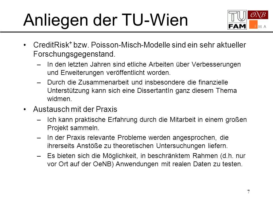 8 1.Ausgangslage OeNB/FMA – TU-Wien 2.Vor- und Nachteile gängiger Kreditrisikomodelle 3.Beschreibung CreditRisk + 4.Implementation 5.Datenerfassung und -aufbereitung 6.Erweiterungen