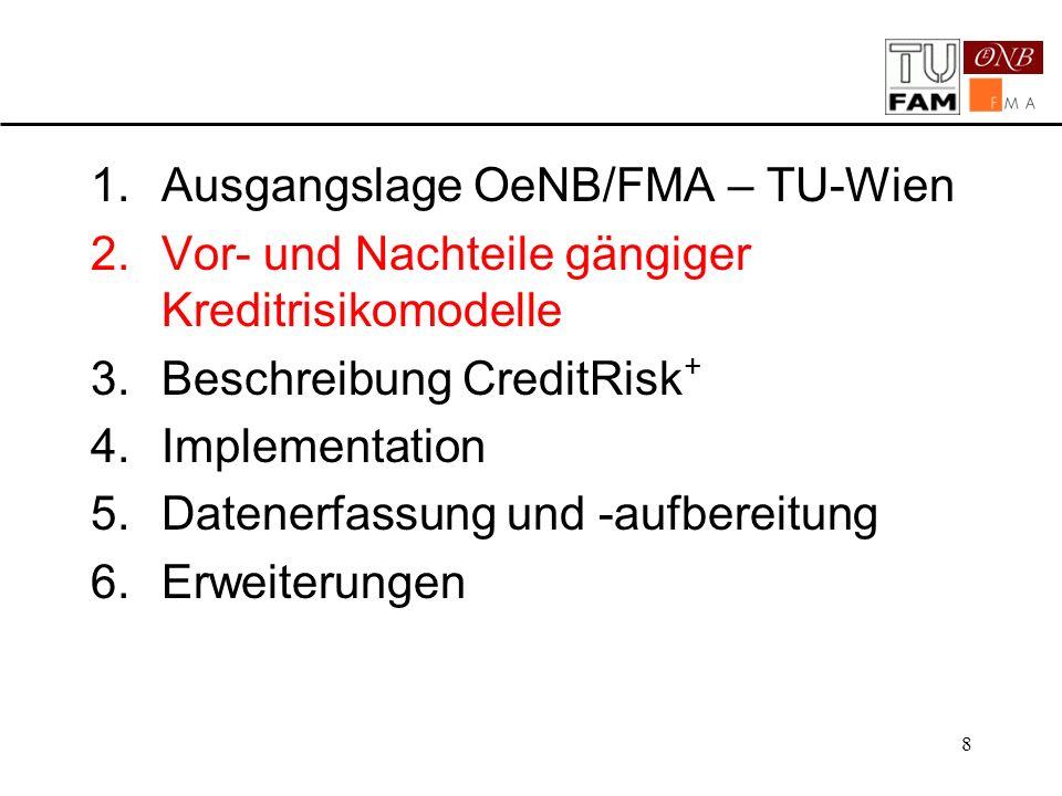 8 1.Ausgangslage OeNB/FMA – TU-Wien 2.Vor- und Nachteile gängiger Kreditrisikomodelle 3.Beschreibung CreditRisk + 4.Implementation 5.Datenerfassung un