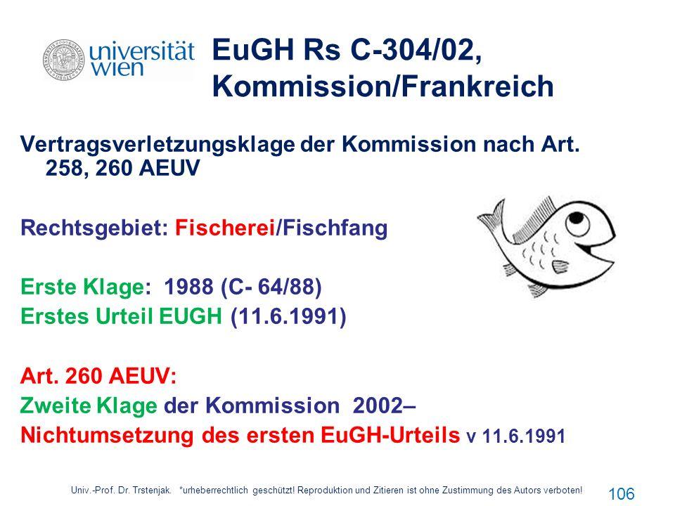 106 EuGH Rs C-304/02, Kommission/Frankreich Vertragsverletzungsklage der Kommission nach Art. 258, 260 AEUV Rechtsgebiet: Fischerei/Fischfang Erste Kl