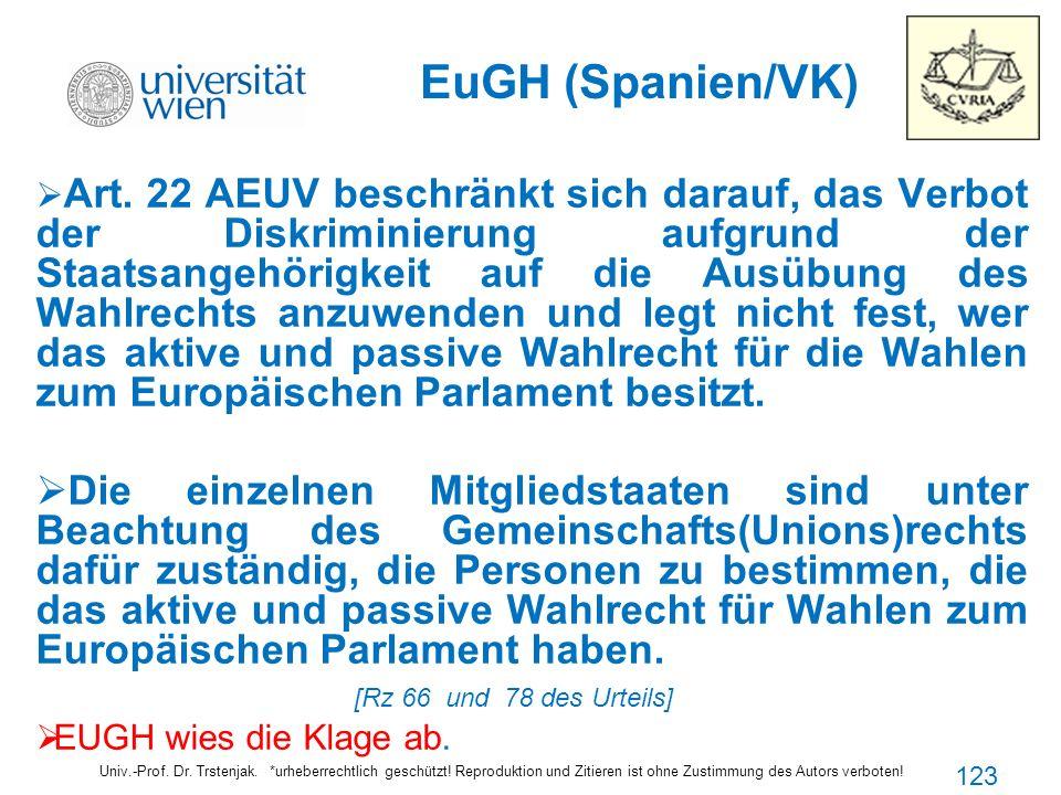 EuGH (Spanien/VK) Art. 22 AEUV beschränkt sich darauf, das Verbot der Diskriminierung aufgrund der Staatsangehörigkeit auf die Ausübung des Wahlrechts