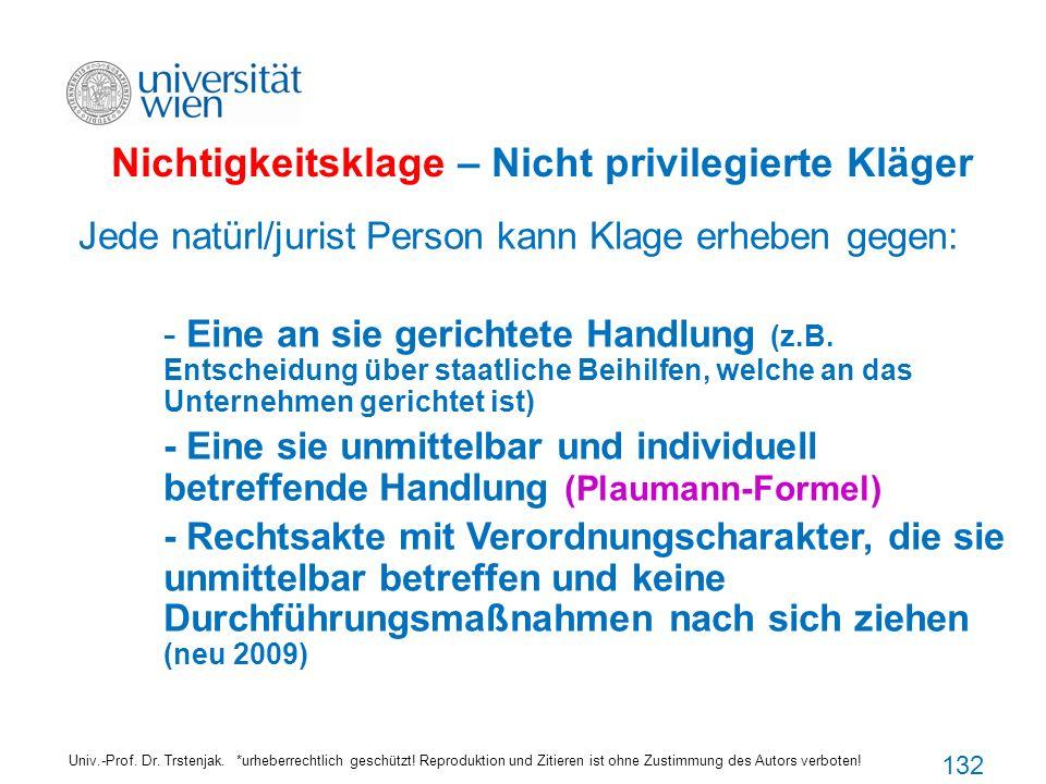 Nichtigkeitsklage – Nicht privilegierte Kläger Univ.-Prof. Dr. Trstenjak. *urheberrechtlich geschützt! Reproduktion und Zitieren ist ohne Zustimmung d