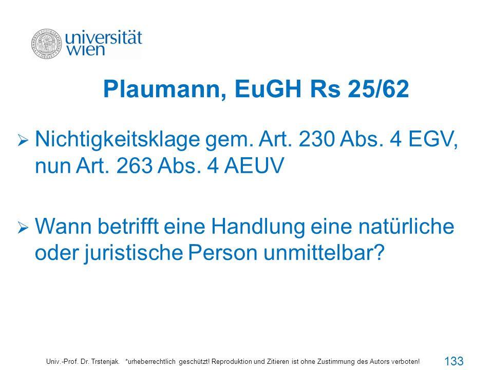 Plaumann, EuGH Rs 25/62 Univ.-Prof. Dr. Trstenjak. *urheberrechtlich geschützt! Reproduktion und Zitieren ist ohne Zustimmung des Autors verboten! Nic