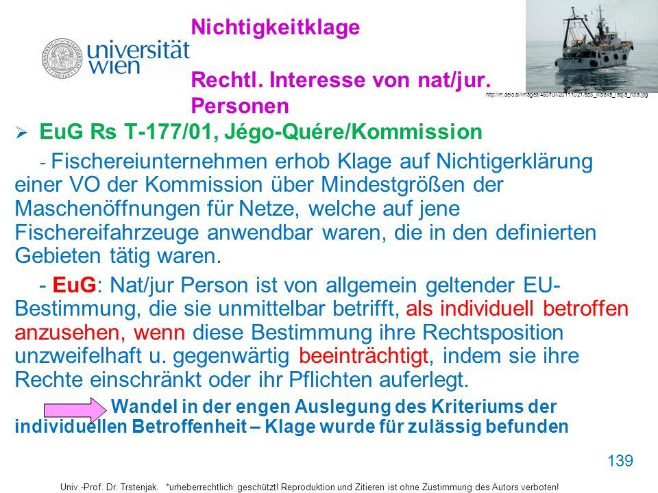 Nichtigkeitklage Rechtl. Interesse von nat/jur. Personen EuG Rs T-177/01, Jégo-Quére/Kommission - Fischereiunternehmen erhob Klage auf Nichtigerklärun