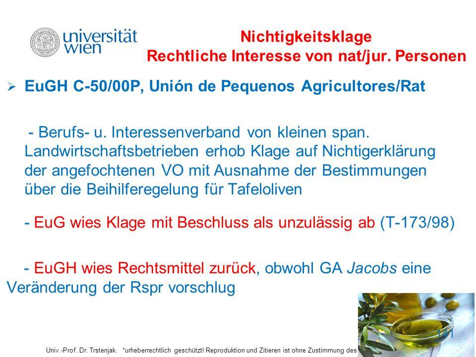 Nichtigkeitsklage Rechtliche Interesse von nat/jur. Personen EuGH C-50/00P, Unión de Pequenos Agricultores/Rat - Berufs- u. Interessenverband von klei