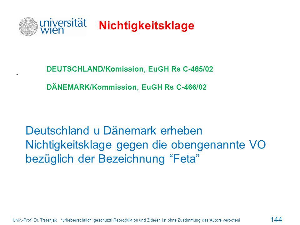 Nichtigkeitsklage. DEUTSCHLAND/Komission, EuGH Rs C-465/02 DÄNEMARK/Kommission, EuGH Rs C-466/02 Deutschland u Dänemark erheben Nichtigkeitsklage gege