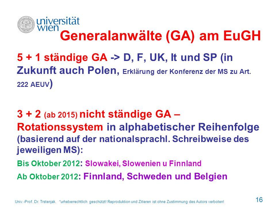 Generalanwälte (GA) am EuGH 5 + 1 ständige GA -> D, F, UK, It und SP (in Zukunft auch Polen, Erklärung der Konferenz der MS zu Art. 222 AEUV ) 3 + 2 (