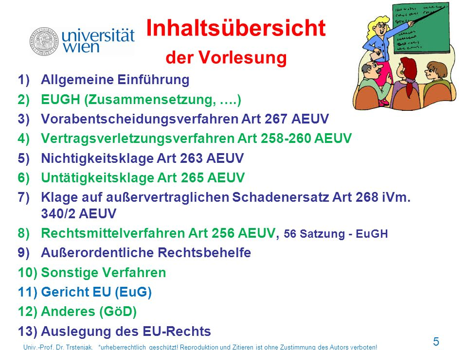 Studienliteratur Oppermann/Classen/Nettesheim: Europarecht (2012) AEUV, EUV Charta der Grundrechte EU Satzung des Gerichtshofs der EU Verfahrensordnung des Gerichtshofs der EU Univ.-Prof.