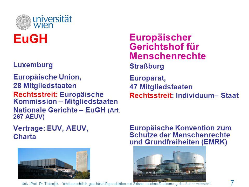 7 EuGH Luxemburg Europäische Union, 28 Mitgliedstaaten Rechtsstreit: Europäische Kommission – Mitgliedstaaten Nationale Gerichte – EuGH (Art. 267 AEUV