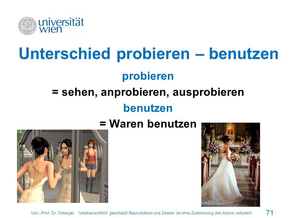 Unterschied probieren – benutzen probieren = sehen, anprobieren, ausprobieren benutzen = Waren benutzen Univ.-Prof. Dr. Trstenjak. *urheberrechtlich g