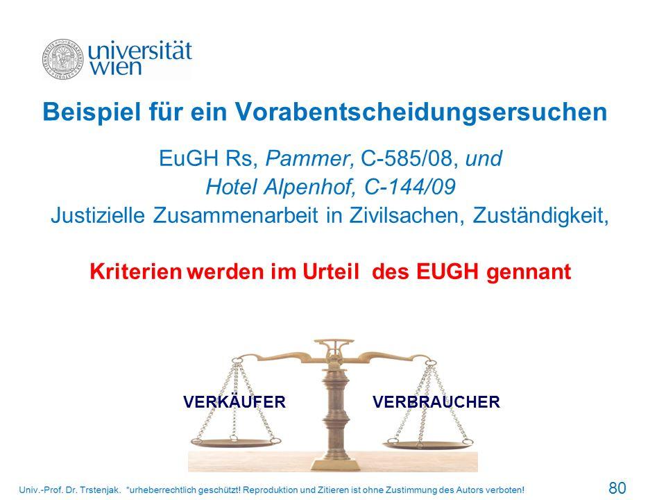 Beispiel für ein Vorabentscheidungsersuchen EuGH Rs, Pammer, C-585/08, und Hotel Alpenhof, C-144/09 Justizielle Zusammenarbeit in Zivilsachen, Zuständ