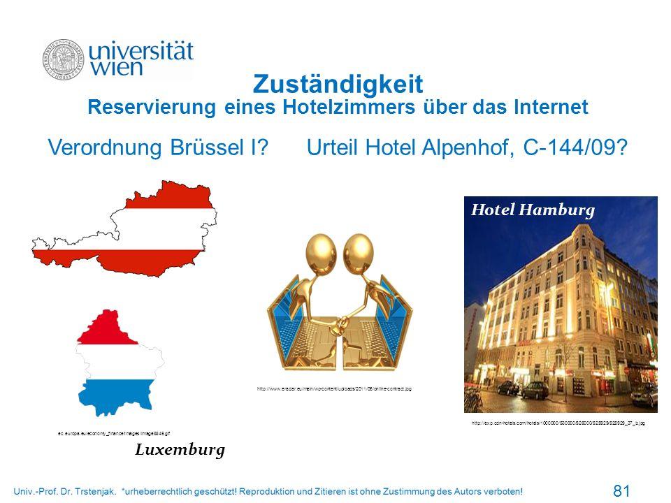Zuständigkeit Reservierung eines Hotelzimmers über das Internet Verordnung Brüssel I? Urteil Hotel Alpenhof, C-144/09? 81 http://www.eradar.eu/main/wp