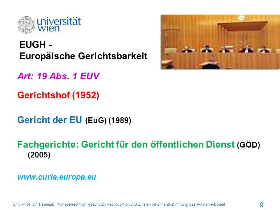 EUGH - Europäische Gerichtsbarkeit Art: 19 Abs. 1 EUV Gerichtshof (1952) Gericht der EU (EuG) (1989) Fachgerichte: Gericht für den öffentlichen Dienst