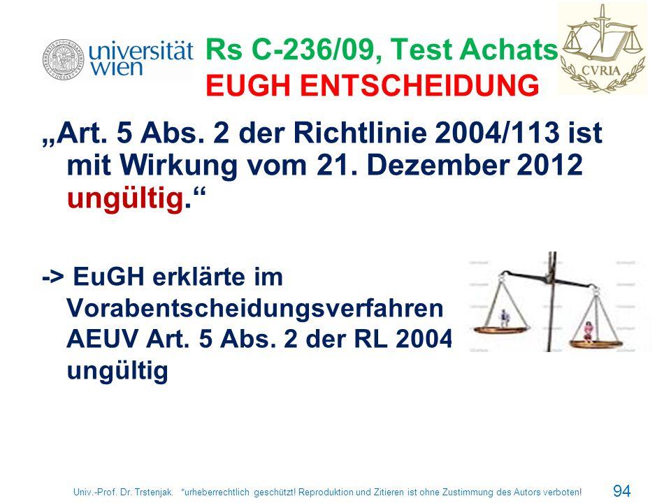 Rs C-236/09, Test Achats, EUGH ENTSCHEIDUNG Art. 5 Abs. 2 der Richtlinie 2004/113 ist mit Wirkung vom 21. Dezember 2012 ungültig. -> EuGH erklärte im