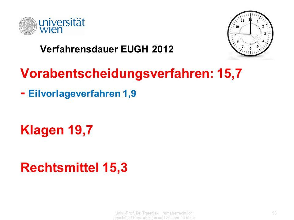 Verfahrensdauer EUGH 2012 Vorabentscheidungsverfahren: 15,7 - Eilvorlageverfahren 1,9 Klagen 19,7 Rechtsmittel 15,3 Univ.-Prof. Dr. Trstenjak. *urhebe