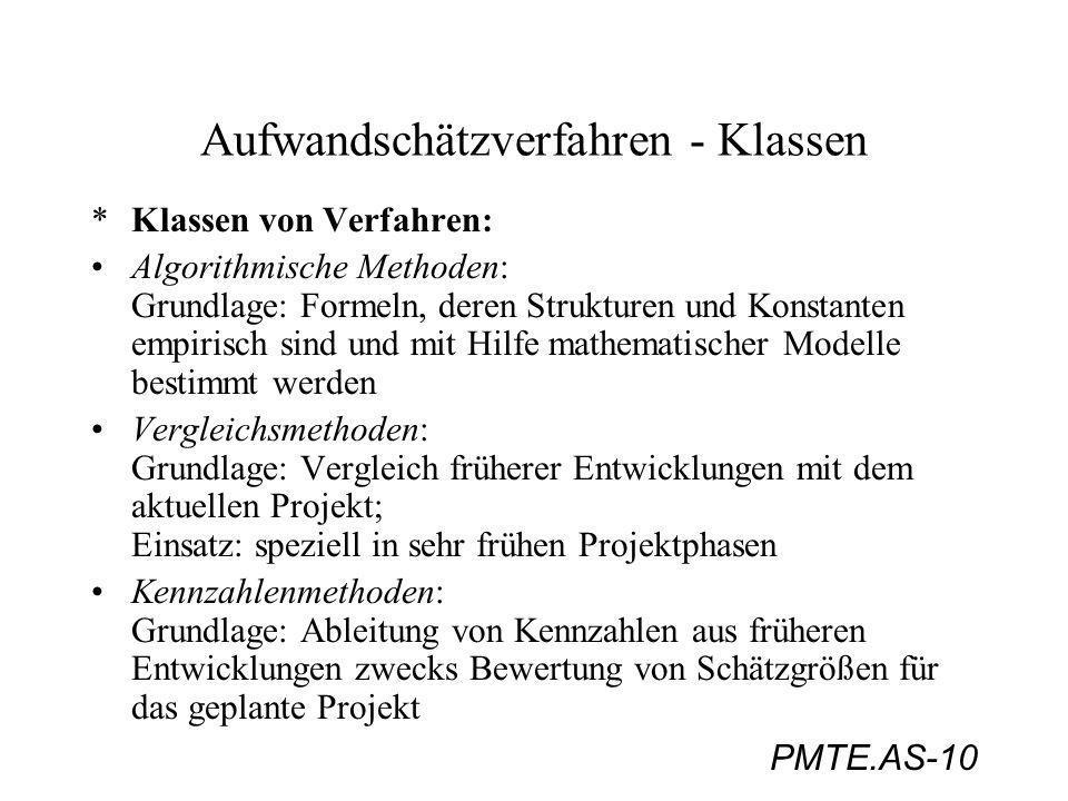 PMTE.AS-10 Aufwandschätzverfahren - Klassen *Klassen von Verfahren: Algorithmische Methoden: Grundlage: Formeln, deren Strukturen und Konstanten empir