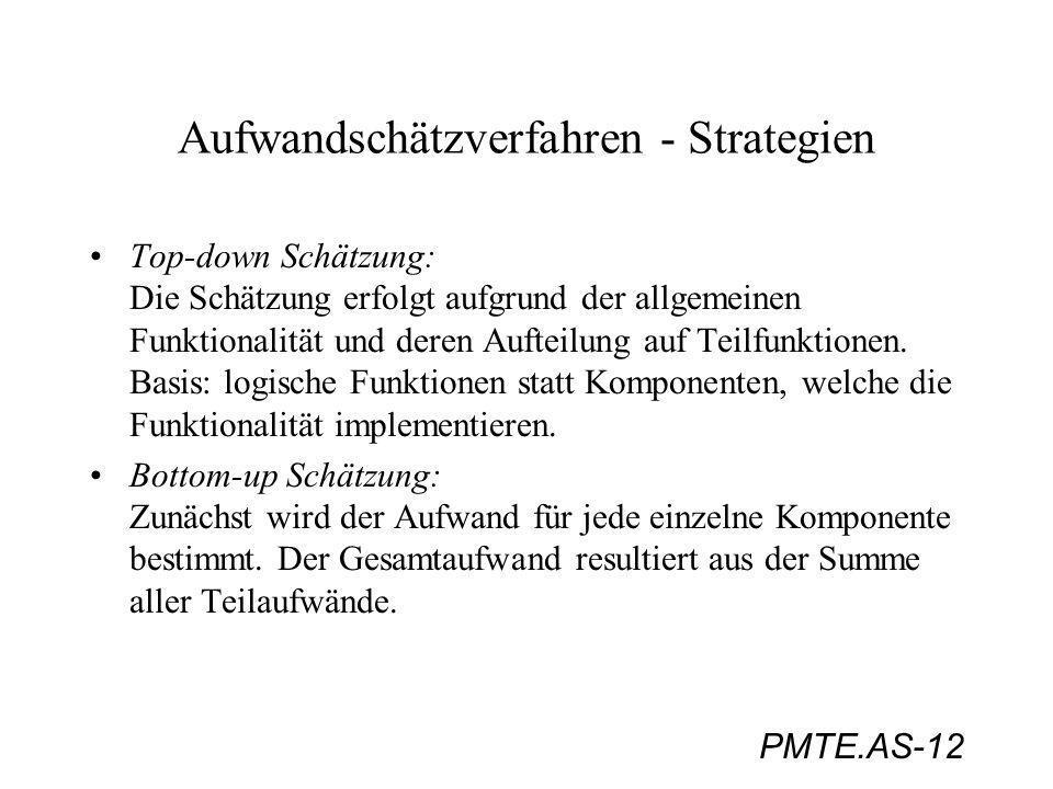 PMTE.AS-12 Aufwandschätzverfahren - Strategien Top-down Schätzung: Die Schätzung erfolgt aufgrund der allgemeinen Funktionalität und deren Aufteilung