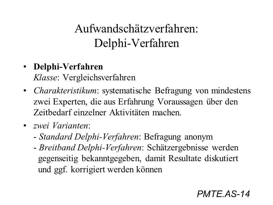 PMTE.AS-14 Aufwandschätzverfahren: Delphi-Verfahren Delphi-Verfahren Klasse: Vergleichsverfahren Charakteristikum: systematische Befragung von mindest