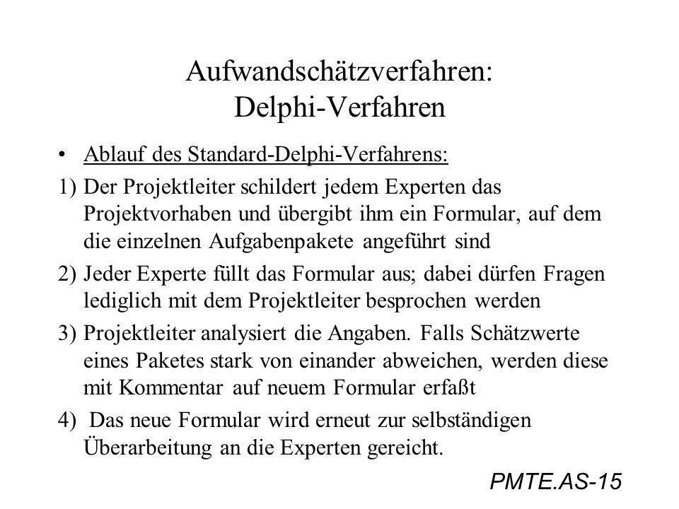 PMTE.AS-15 Aufwandschätzverfahren: Delphi-Verfahren Ablauf des Standard-Delphi-Verfahrens: 1) Der Projektleiter schildert jedem Experten das Projektvo