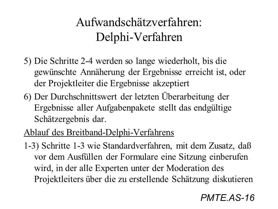 PMTE.AS-16 Aufwandschätzverfahren: Delphi-Verfahren 5) Die Schritte 2-4 werden so lange wiederholt, bis die gewünschte Annäherung der Ergebnisse errei