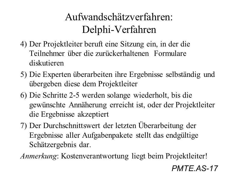 PMTE.AS-17 Aufwandschätzverfahren: Delphi-Verfahren 4) Der Projektleiter beruft eine Sitzung ein, in der die Teilnehmer über die zurückerhaltenen Form