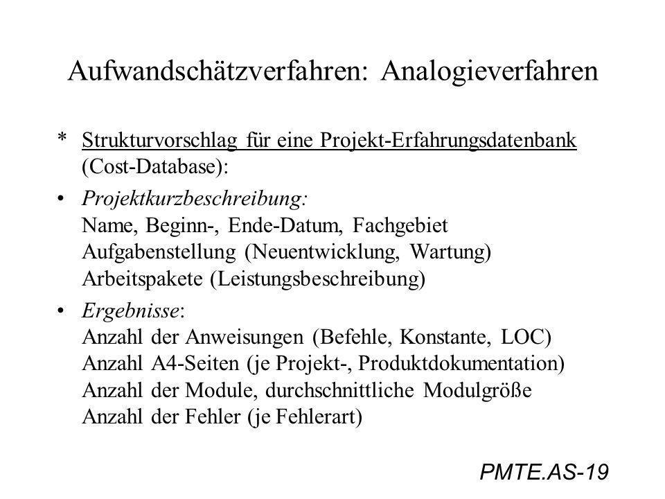 PMTE.AS-19 Aufwandschätzverfahren: Analogieverfahren *Strukturvorschlag für eine Projekt-Erfahrungsdatenbank (Cost-Database): Projektkurzbeschreibung: