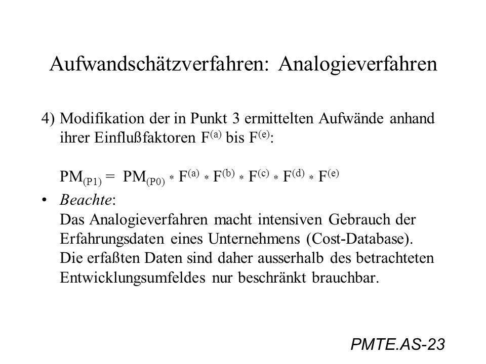 PMTE.AS-23 Aufwandschätzverfahren: Analogieverfahren 4)Modifikation der in Punkt 3 ermittelten Aufwände anhand ihrer Einflußfaktoren F (a) bis F (e) :
