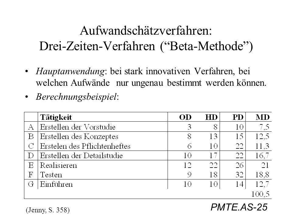 PMTE.AS-25 Aufwandschätzverfahren: Drei-Zeiten-Verfahren (Beta-Methode) Hauptanwendung: bei stark innovativen Verfahren, bei welchen Aufwände nur unge
