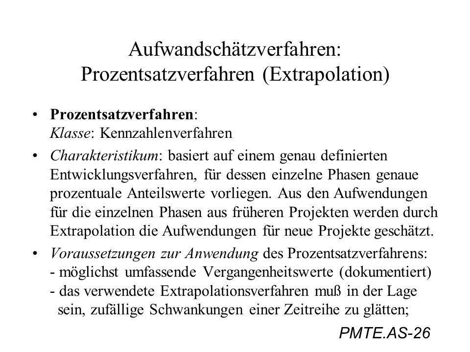 PMTE.AS-26 Aufwandschätzverfahren: Prozentsatzverfahren (Extrapolation) Prozentsatzverfahren: Klasse: Kennzahlenverfahren Charakteristikum: basiert au