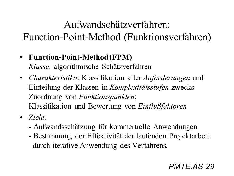 PMTE.AS-29 Aufwandschätzverfahren: Function-Point-Method (Funktionsverfahren) Function-Point-Method (FPM) Klasse: algorithmische Schätzverfahren Chara