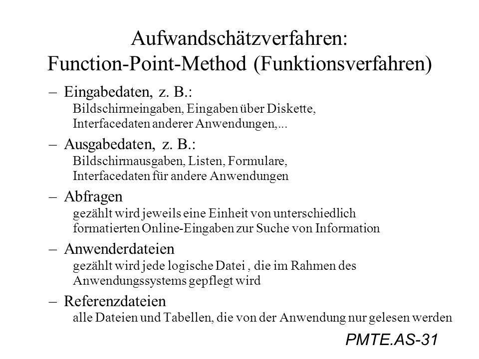 PMTE.AS-31 Aufwandschätzverfahren: Function-Point-Method (Funktionsverfahren) –Eingabedaten, z. B.: Bildschirmeingaben, Eingaben über Diskette, Interf