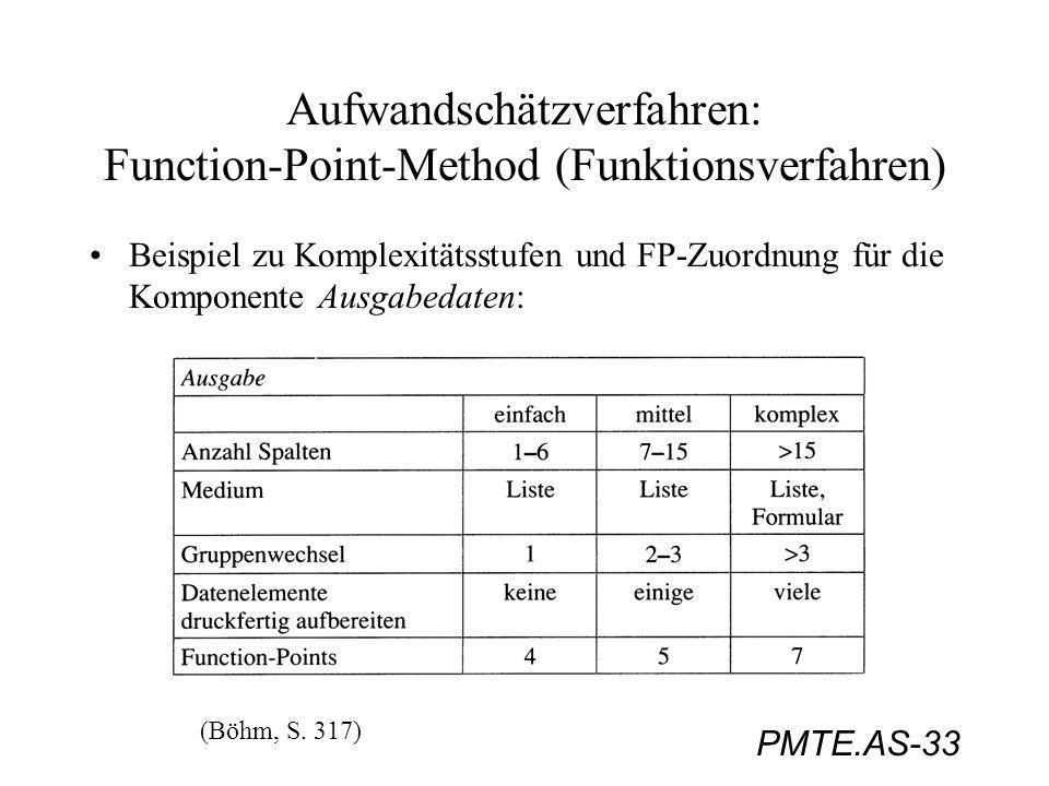 PMTE.AS-33 Aufwandschätzverfahren: Function-Point-Method (Funktionsverfahren) Beispiel zu Komplexitätsstufen und FP-Zuordnung für die Komponente Ausga