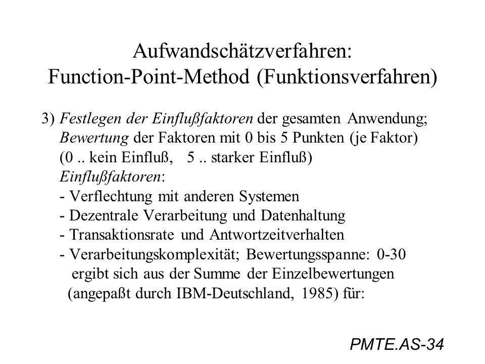 PMTE.AS-34 Aufwandschätzverfahren: Function-Point-Method (Funktionsverfahren) 3)Festlegen der Einflußfaktoren der gesamten Anwendung; Bewertung der Fa