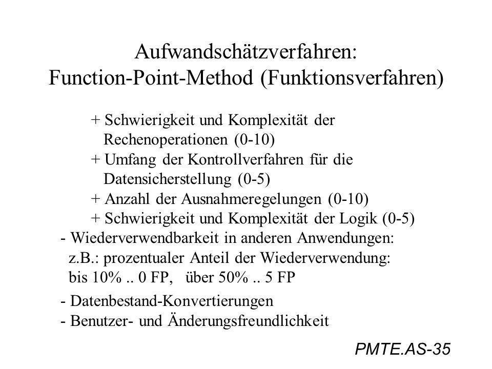 PMTE.AS-35 Aufwandschätzverfahren: Function-Point-Method (Funktionsverfahren) + Schwierigkeit und Komplexität der Rechenoperationen (0-10) + Umfang de