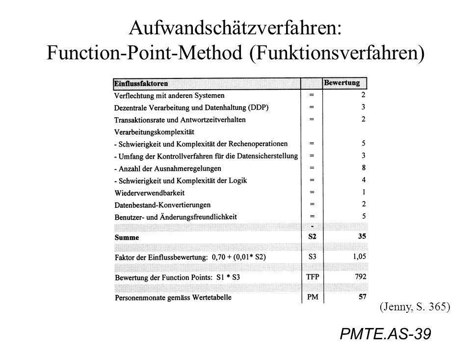 PMTE.AS-39 Aufwandschätzverfahren: Function-Point-Method (Funktionsverfahren) (Jenny, S. 365)
