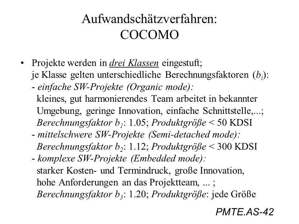 PMTE.AS-42 Aufwandschätzverfahren: COCOMO Projekte werden in drei Klassen eingestuft; je Klasse gelten unterschiedliche Berechnungsfaktoren (b i ): -