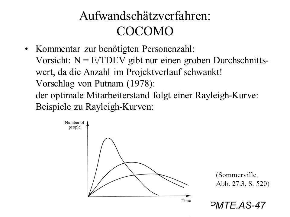 PMTE.AS-47 Aufwandschätzverfahren: COCOMO Kommentar zur benötigten Personenzahl: Vorsicht: N = E/TDEV gibt nur einen groben Durchschnitts- wert, da di