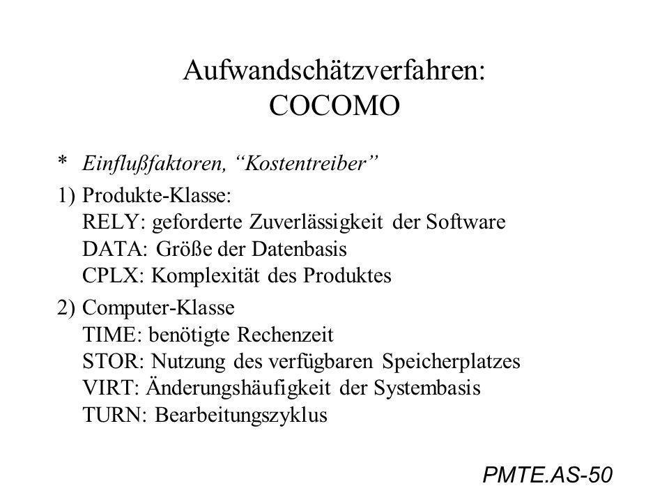 PMTE.AS-50 Aufwandschätzverfahren: COCOMO *Einflußfaktoren, Kostentreiber 1)Produkte-Klasse: RELY: geforderte Zuverlässigkeit der Software DATA: Größe