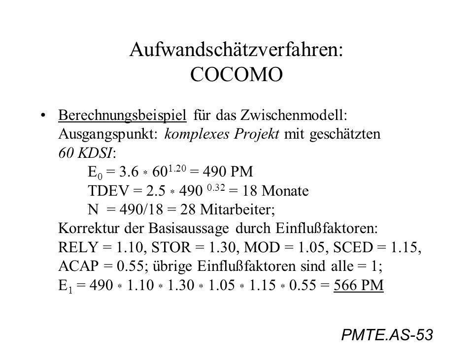PMTE.AS-53 Aufwandschätzverfahren: COCOMO Berechnungsbeispiel für das Zwischenmodell: Ausgangspunkt: komplexes Projekt mit geschätzten 60 KDSI: E 0 =