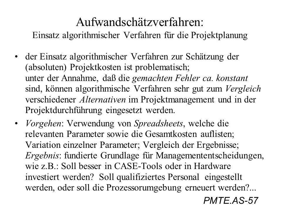 PMTE.AS-57 Aufwandschätzverfahren: Einsatz algorithmischer Verfahren für die Projektplanung der Einsatz algorithmischer Verfahren zur Schätzung der (a