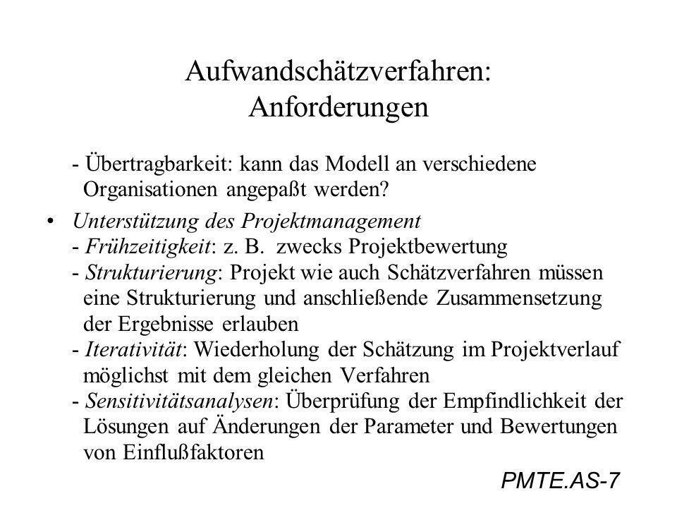 PMTE.AS-38 Aufwandschätzverfahren: Function-Point-Method (Funktionsverfahren) Berechnungsbeispiel: (Jenny, S.