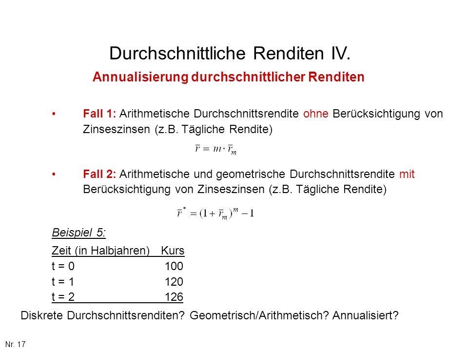 Nr. 17 Durchschnittliche Renditen IV. Annualisierung durchschnittlicher Renditen Fall 1: Arithmetische Durchschnittsrendite ohne Berücksichtigung von