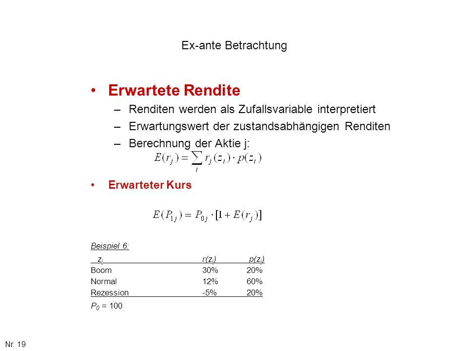 Nr. 19 Ex-ante Betrachtung Erwartete Rendite –Renditen werden als Zufallsvariable interpretiert –Erwartungswert der zustandsabhängigen Renditen –Berec