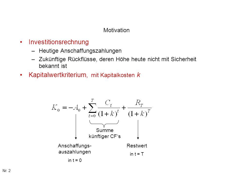 Nr. 2 Motivation Investitionsrechnung –Heutige Anschaffungszahlungen –Zukünftige Rückflüsse, deren Höhe heute nicht mit Sicherheit bekannt ist Kapital